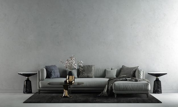 A decoração de design de interiores e a simulação de móveis da sala de estar moderna do sotão e o fundo de textura de parede de concreto vazia.