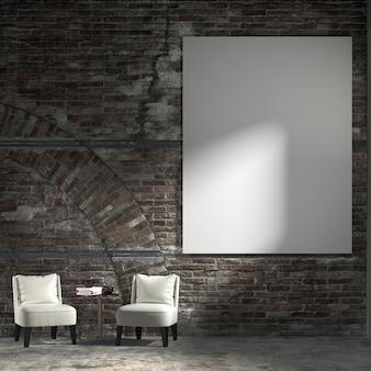 A decoração de interiores, móveis, sala de estar e tela no fundo do teste padrão da parede de tijolo