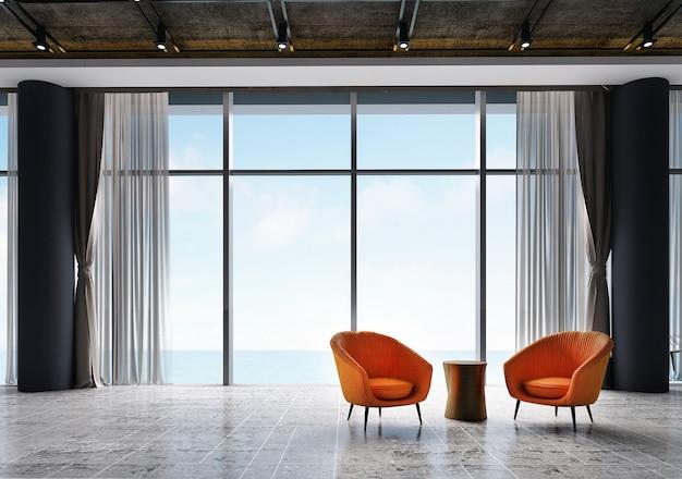 A decoração do interior e do mock up e o design da sala de estar