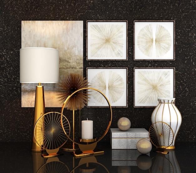 A decoração do interior (renderização em 3d)