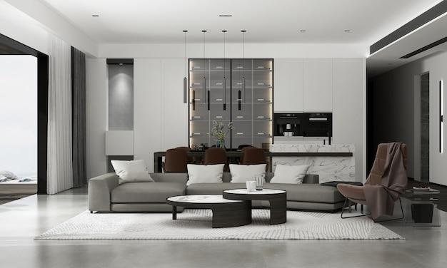 A decoração e o mock up aconchegante do design de interiores da sala de estar e a renderização 3d do fundo do padrão da parede vazia