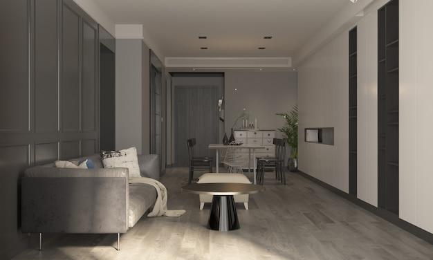 A decoração e o mock up aconchegante do design de interiores da sala de estar e de jantar e a renderização 3d do fundo do padrão da parede vazia