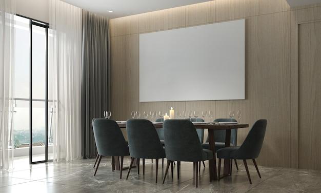 A decoração e o mock up aconchegante do design de interiores da sala de jantar e a moldura de tela vazia e o fundo do padrão de parede de madeira renderização 3d