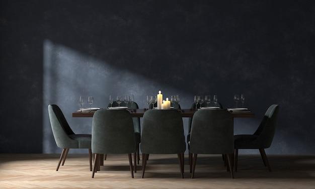 A decoração e o mock up aconchegante do design de interiores da sala de jantar e o fundo do padrão de parede azul vazio renderização 3d