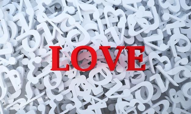 A decoração e o texto de amor e o fundo branco