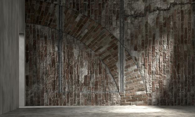 A decoração interior e a simulação dos móveis da sala de estar e do fundo do teste padrão da parede de tijolo vazia