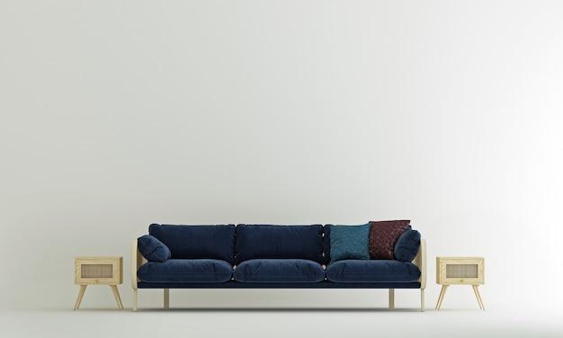 A decoração interior e o mock up dos móveis da sala de estar e do fundo do padrão de parede branca vazia