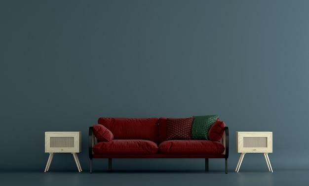 A decoração interior e o mock up dos móveis da sala de estar e do fundo do padrão de parede