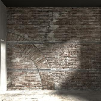 A decoração interior e o mock up dos móveis da sala de estar e do fundo do teste padrão da parede de tijolos