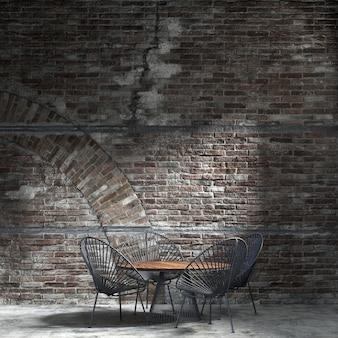 A decoração interior e o mock up dos móveis da sala de jantar e do fundo da parede de tijolos