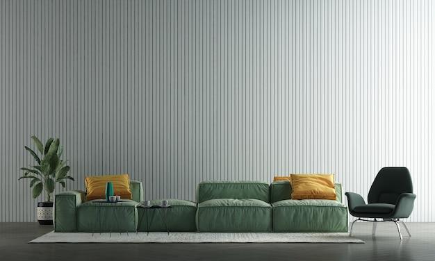 A decoração simula o design de interiores e a moderna sala de estar com fundo de textura de parede de azulejo branco