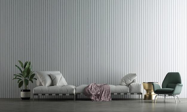 A decoração simula o design de interiores e a sala de estar branca com fundo branco de textura de parede vazia