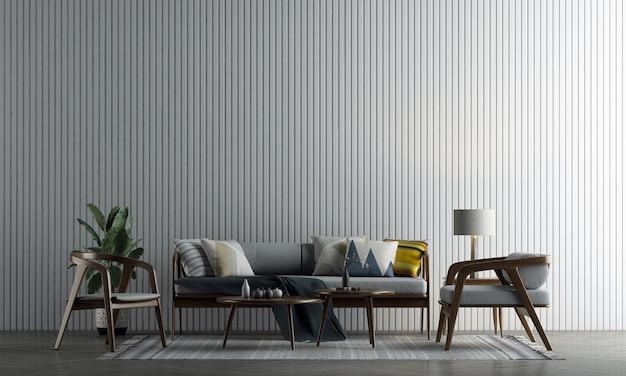 A decoração simula o design de interiores e a sala de estar com fundo de textura de parede branca