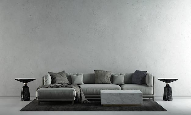 A decoração simula o design de interiores e a sala de estar com fundo de textura de parede de concreto