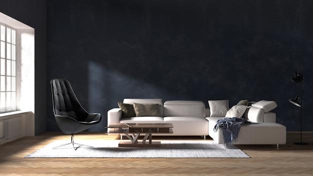 A decoração simula o design de interiores e a sala de estar com fundo de textura de parede preta