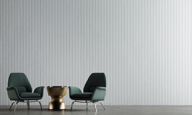 A decoração simula o design de interiores e a sala de estar minimalista com fundo de textura de parede branca vazia