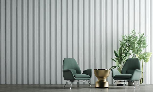A decoração simula um design de interiores e uma sala de estar aconchegante com fundo de textura de parede branca vazia