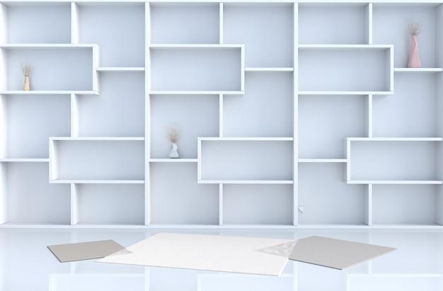 A decoração vazia da sala branca com parede das prateleiras, assoalho de telha, tapete, ramo em 3d rende.