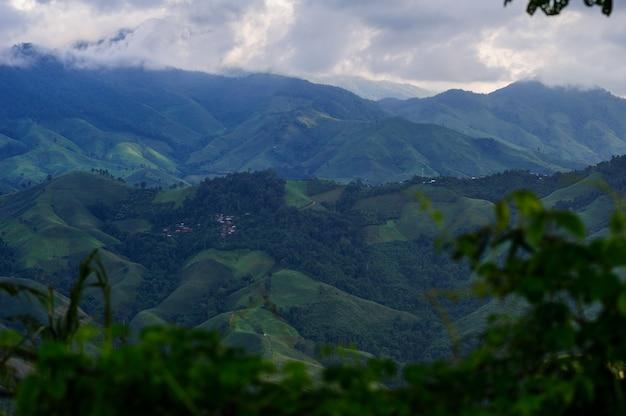 A destruição de florestas para o cultivo itinerante na província de nan, na tailândia.
