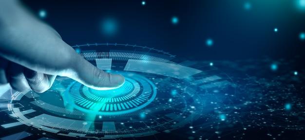 A digitalização da impressão digital fornece acesso com identificação biométrica na convergência digital