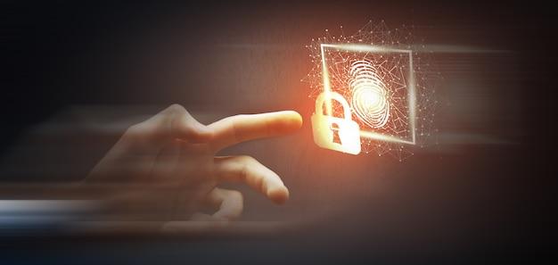 A digitalização da impressão digital fornece acesso de segurança com identificação biométrica