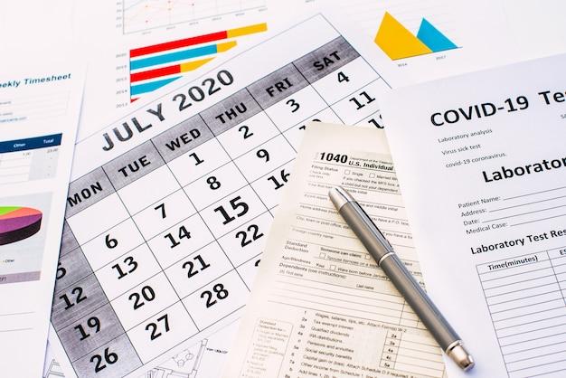 A doença de covid19 estende o período de pagamento de impostos até 15 de julho de 2020 na américa.