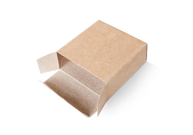 A embalagem em branco abriu a caixa de papel reciclado kraft para o produto