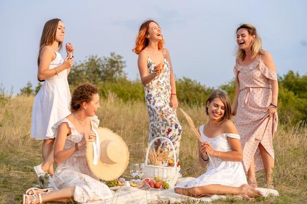A empresa de elegantes felizes amigas se divertindo na festa de piquenique ao ar livre estilo retro