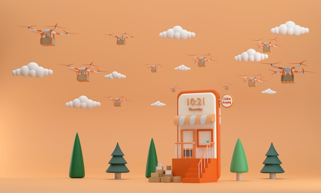 A entrega rápida usando drone no céu nublado da loja online no celular é uma ideia de negócio moderna