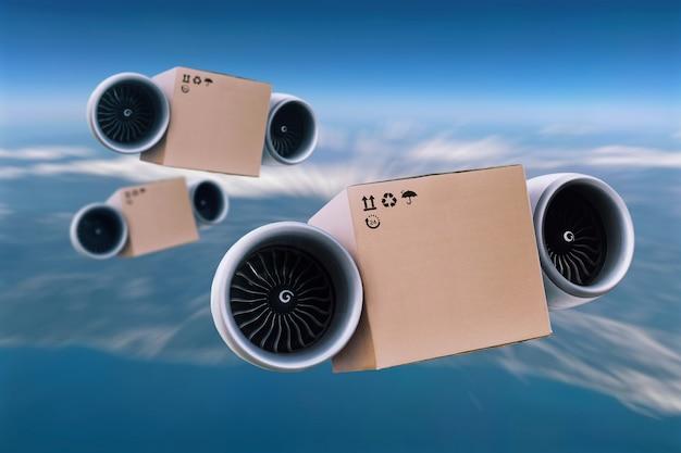 A entrega super rápida de mercadorias está voando no céu. caixa da turbina, conceito futuro. embale a caixa de papelão com turbina, conceito futuro. carga