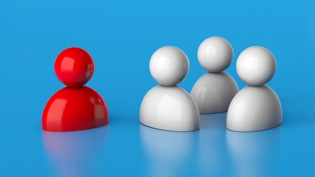 A equipe escuta o líder vermelho. o chefe fala com os funcionários. renderização 3d.