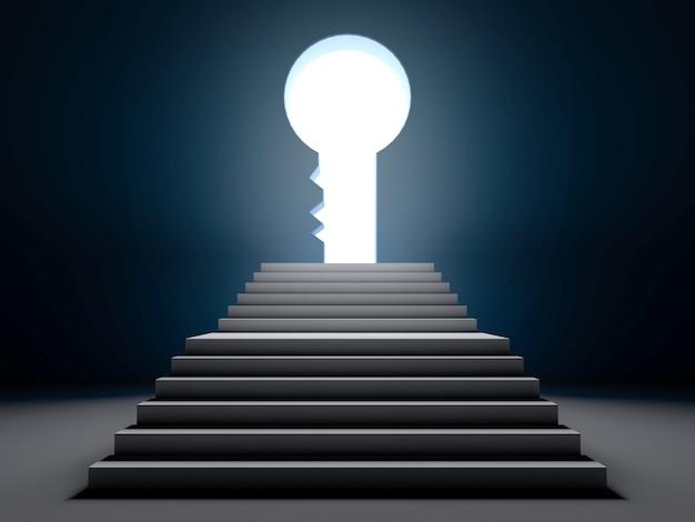 A escada do sucesso. cena 3d.