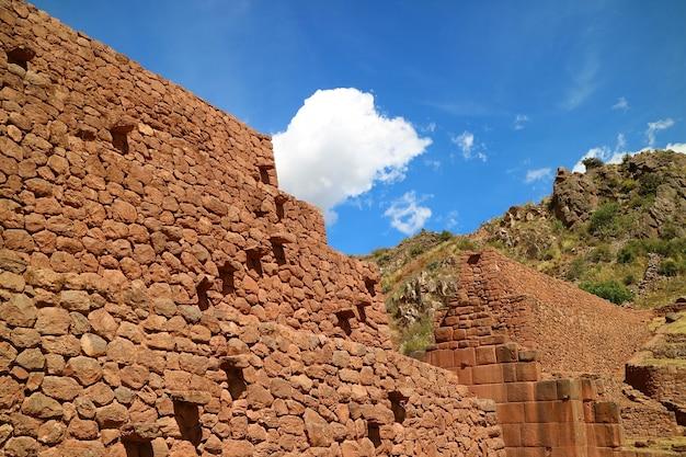 A, escadas, ligado, a, pre-inca, grande, parede pedra, ruínas, de, pikillaqta, sul, vale, cusco, peru