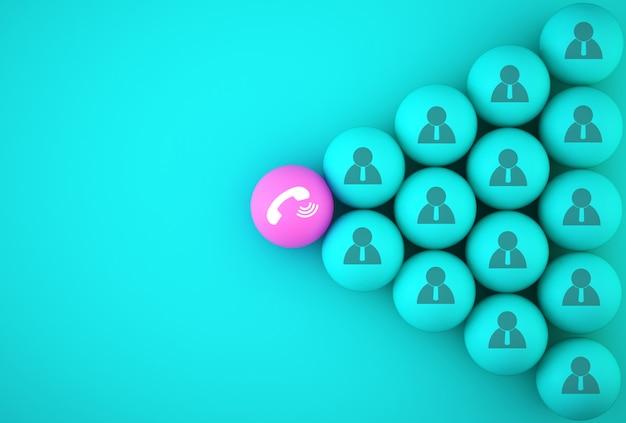 A esfera de telefone de botão com pessoas de ícone