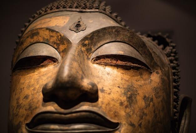 A estátua de buda da cabeça do foco danificou o período de ayutthaya.