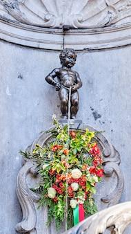 A, estátua, de, manneken, pis, em, bruxelas, bélgica