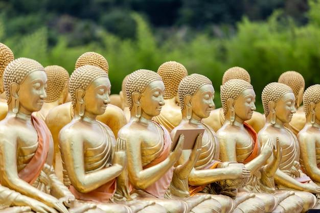 A estátua do buda de ouro com 1250 discípulos no parque memorial budista makha bucha é construído por ocasião do grande período