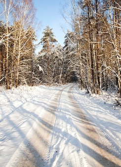 A estrada de inverno coberta de neve