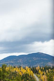 A estrada nas montanhas. paisagem de outono.