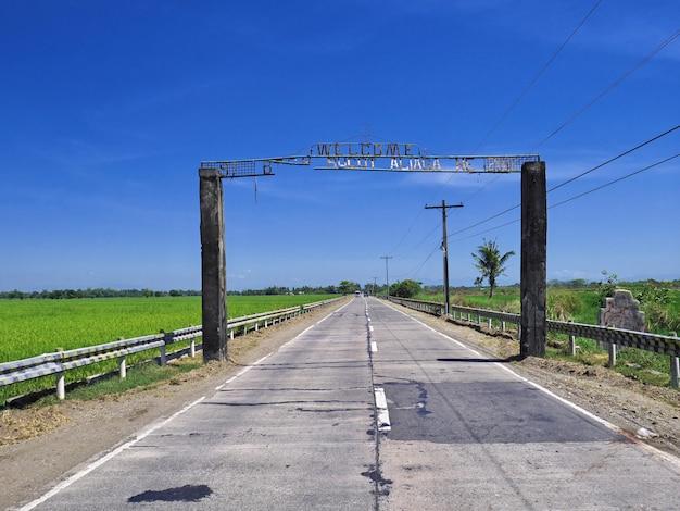 A estrada no campo de arroz nas filipinas
