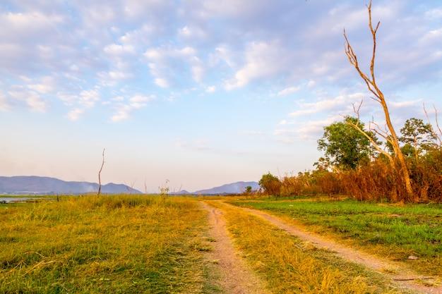 A estrada no reservatório de bang phra quando a água diminui