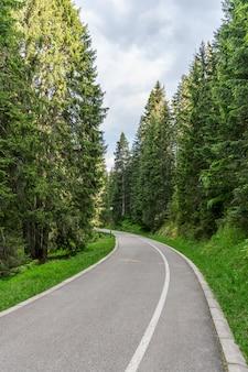 A estrada sinuosa para o lago de montanha pitoresca.