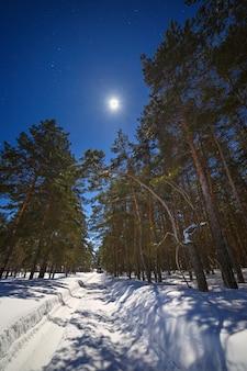 A estrela e a lua cheia no céu à noite. estrada de inverno com neve profunda na floresta de coníferas.