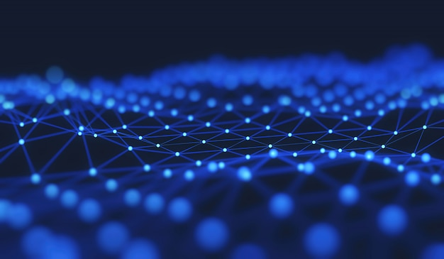A estrutura da conexão de rede de pontos e linhas