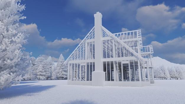 A estrutura de uma casa de madeira sobre uma fundação de concreto com uma lareira e uma chaminé. ilustração no estilo de um layout de plástico com um ambiente detalhado. renderização 3d.