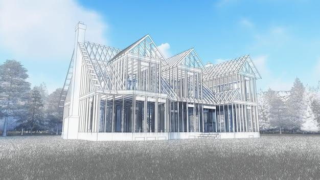 A estrutura de uma casa de madeira sobre uma fundação de concreto com uma lareira e uma chaminé. ilustração simulando desenho à mão com lápis e aquarela. renderização 3d.