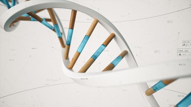 A estrutura do dna humano gira contra o pano de fundo de compostos e números. ilustração 3d da tecnologia de ciência conceitual