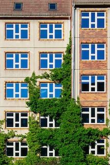 A, fachada, de, um, edifício, coberto, com, plantas, em, berlim