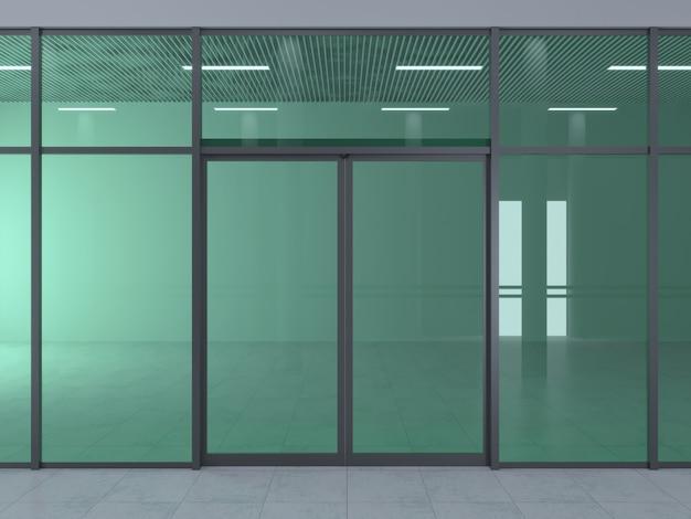 A fachada de um moderno centro comercial ou estação, um aeroporto com portas de correr automáticas.