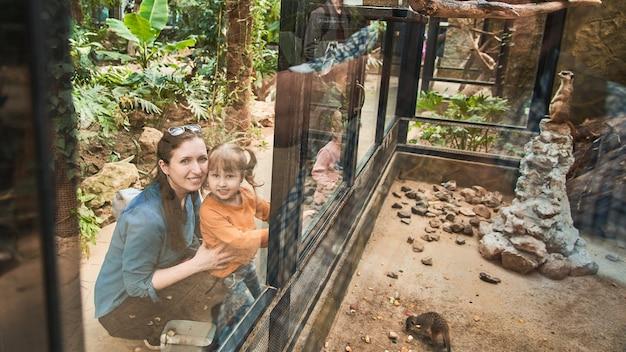A família no zoológico olha os animais através de um vidro de segurança